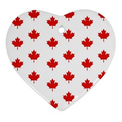 Maple Leaf Canada Emblem Country Heart Ornament (two Sides)