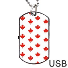 Maple Leaf Canada Emblem Country Dog Tag Usb Flash (one Side) by Celenk