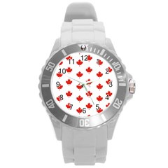 Maple Leaf Canada Emblem Country Round Plastic Sport Watch (l) by Celenk