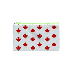 Maple Leaf Canada Emblem Country Cosmetic Bag (xs) by Celenk