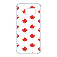 Maple Leaf Canada Emblem Country Samsung Galaxy S7 Edge White Seamless Case