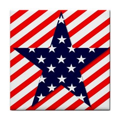 Patriotic Usa Stars Stripes Red Tile Coasters