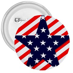 Patriotic Usa Stars Stripes Red 3  Buttons