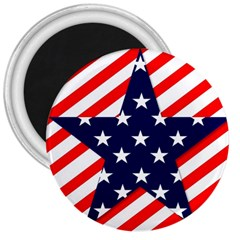 Patriotic Usa Stars Stripes Red 3  Magnets