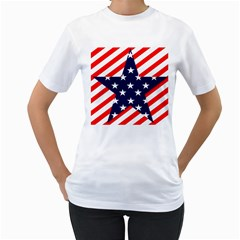 Patriotic Usa Stars Stripes Red Women s T-Shirt (White) (Two Sided)