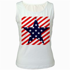 Patriotic Usa Stars Stripes Red Women s White Tank Top