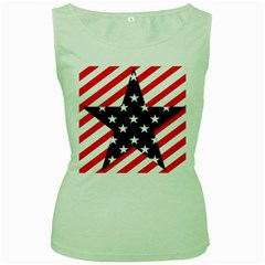 Patriotic Usa Stars Stripes Red Women s Green Tank Top