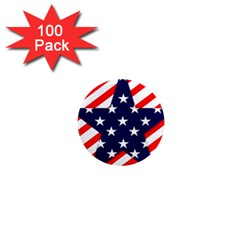 Patriotic Usa Stars Stripes Red 1  Mini Magnets (100 pack)