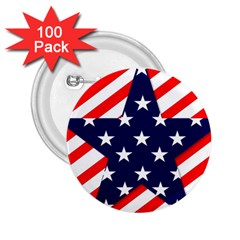 Patriotic Usa Stars Stripes Red 2.25  Buttons (100 pack)