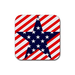 Patriotic Usa Stars Stripes Red Rubber Coaster (square)  by Celenk