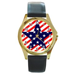 Patriotic Usa Stars Stripes Red Round Gold Metal Watch