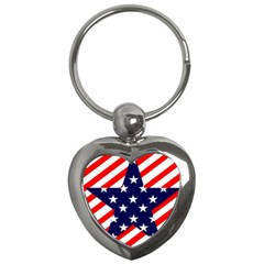 Patriotic Usa Stars Stripes Red Key Chains (Heart)
