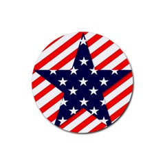 Patriotic Usa Stars Stripes Red Rubber Round Coaster (4 pack)