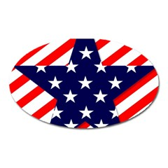Patriotic Usa Stars Stripes Red Oval Magnet