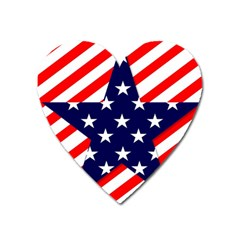 Patriotic Usa Stars Stripes Red Heart Magnet