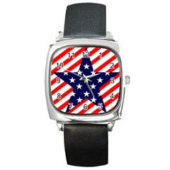Patriotic Usa Stars Stripes Red Square Metal Watch