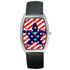 Patriotic Usa Stars Stripes Red Barrel Style Metal Watch