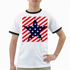 Patriotic Usa Stars Stripes Red Ringer T-Shirts