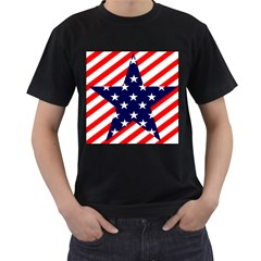 Patriotic Usa Stars Stripes Red Men s T-Shirt (Black) (Two Sided)