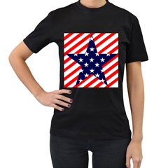 Patriotic Usa Stars Stripes Red Women s T-Shirt (Black) (Two Sided)