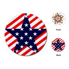 Patriotic Usa Stars Stripes Red Playing Cards (Round)