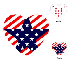 Patriotic Usa Stars Stripes Red Playing Cards (Heart)