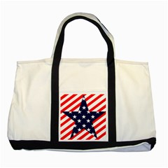 Patriotic Usa Stars Stripes Red Two Tone Tote Bag