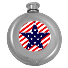 Patriotic Usa Stars Stripes Red Round Hip Flask (5 Oz) by Celenk