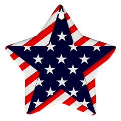 Patriotic Usa Stars Stripes Red Star Ornament (two Sides) by Celenk
