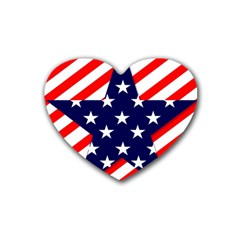Patriotic Usa Stars Stripes Red Rubber Coaster (Heart)