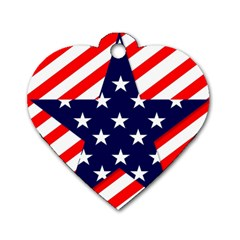 Patriotic Usa Stars Stripes Red Dog Tag Heart (Two Sides)