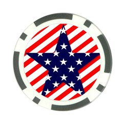 Patriotic Usa Stars Stripes Red Poker Chip Card Guard