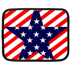Patriotic Usa Stars Stripes Red Netbook Case (Large)