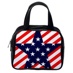 Patriotic Usa Stars Stripes Red Classic Handbags (One Side)
