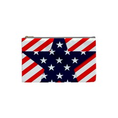 Patriotic Usa Stars Stripes Red Cosmetic Bag (Small)