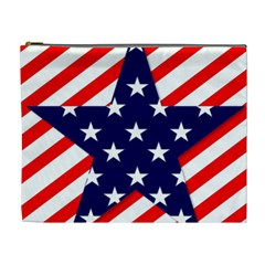 Patriotic Usa Stars Stripes Red Cosmetic Bag (XL)