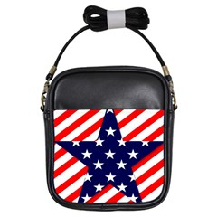 Patriotic Usa Stars Stripes Red Girls Sling Bags
