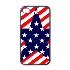 Patriotic Usa Stars Stripes Red Apple iPhone 4 Case (Black)