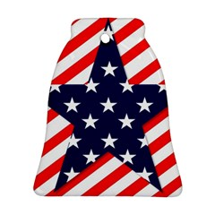 Patriotic Usa Stars Stripes Red Ornament (Bell)