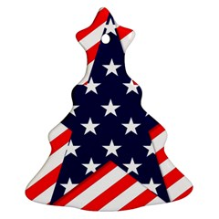 Patriotic Usa Stars Stripes Red Christmas Tree Ornament (two Sides)