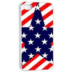 Patriotic Usa Stars Stripes Red Apple iPhone 4/4s Seamless Case (White)