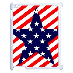Patriotic Usa Stars Stripes Red Apple iPad 2 Case (White)