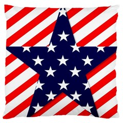 Patriotic Usa Stars Stripes Red Large Cushion Case (Two Sides)