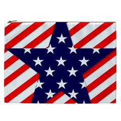 Patriotic Usa Stars Stripes Red Cosmetic Bag (XXL)