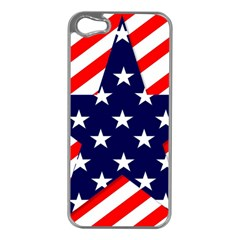 Patriotic Usa Stars Stripes Red Apple iPhone 5 Case (Silver)