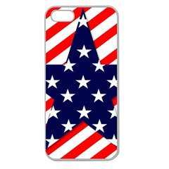 Patriotic Usa Stars Stripes Red Apple Seamless iPhone 5 Case (Clear)