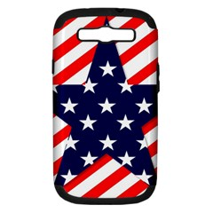 Patriotic Usa Stars Stripes Red Samsung Galaxy S III Hardshell Case (PC+Silicone)