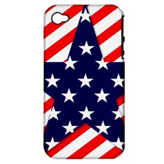 Patriotic Usa Stars Stripes Red Apple iPhone 4/4S Hardshell Case (PC+Silicone)
