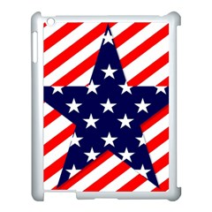 Patriotic Usa Stars Stripes Red Apple iPad 3/4 Case (White)
