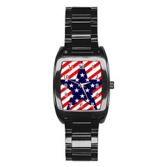 Patriotic Usa Stars Stripes Red Stainless Steel Barrel Watch
